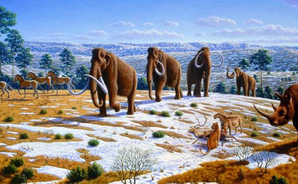 یک چشماندازِ متعلق به دوره پلیستوسن در شمال اسپانیا؛ به همراه ماموتهای پشمدار، اکوئیدها، کرگدنهای پشم دار و شیرهای اروپاییِ ساکن غار