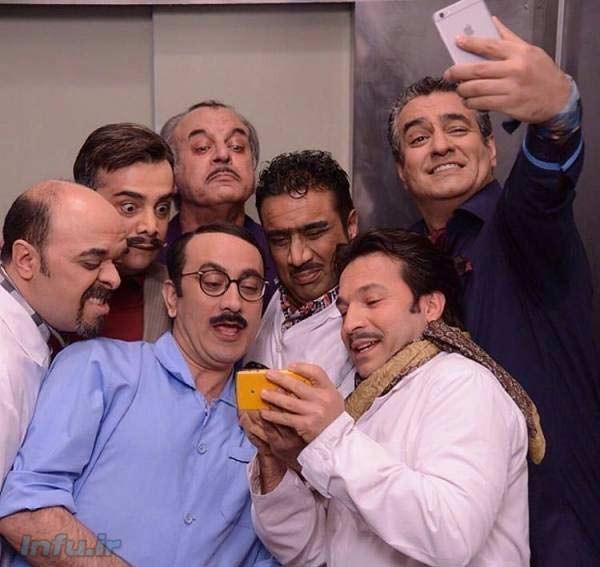 سلفی عارف لرستانی با بازیگران سریال در حاشیه